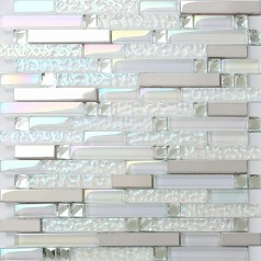 Iridescent White Glass Tile Wave Pattern Silver Stainless Steel Glossy Crystal Mosaic Backsplash