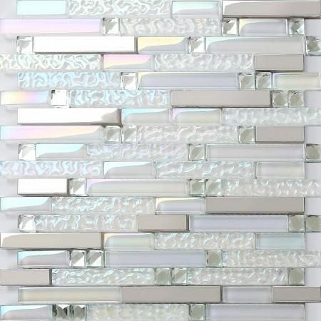 Silver Stainless Steel Tile Iridescent White Glass and Metal Mosaic Tiles Diamond Crystal Backsplash