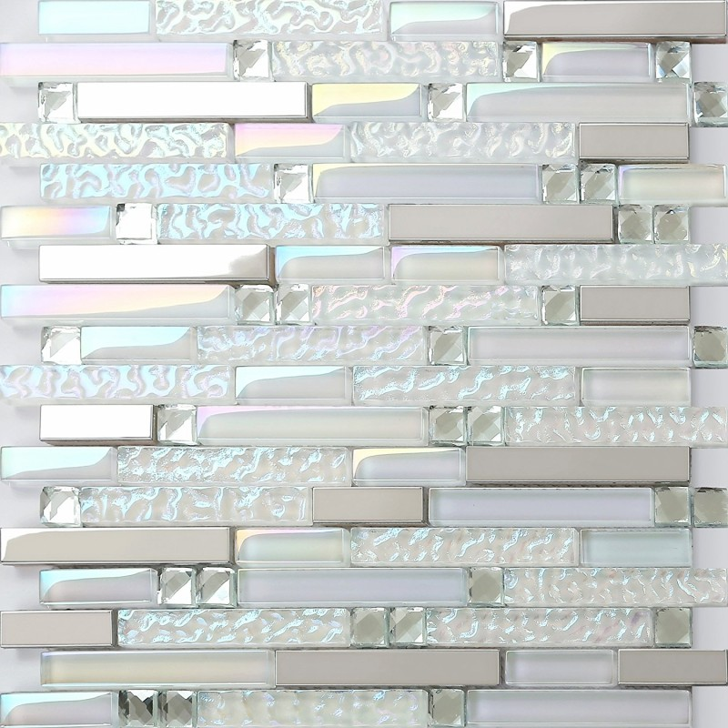 Iridescent White Glass Tile Wave Pattern Silver Stainless
