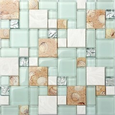 Glass and Stone Mix Mosaic Tile Green Sandy Conch Shell Tiles Random Brick Silver Crystal Backsplash