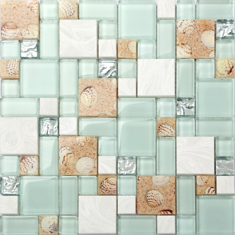 Glass And Stone Mix Mosaic Tile Green Sandy Conch Shell