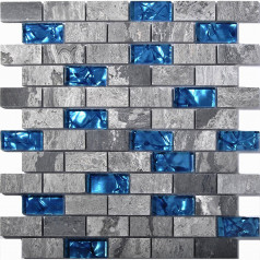 "Ocean Blue Glass Tile Backsplash Grey Marble Mosaic Wave Patterns 1"" x 2"" Subway Brick Wall Tiles"