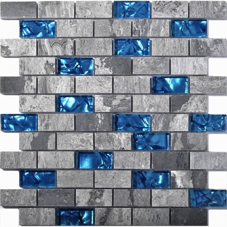 "Teal Blue Glass Backsplash Tiles Gray Marble 1"" x 2"" Subway Tile Bathroom Shower Wall Accent Tile"
