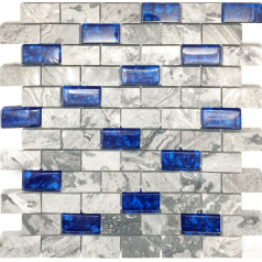 "Navy Blue Glass Tile Backsplash Grey Marble Mosaic Wave Patterns 1"" x 2"" Subway Brick Wall Tiles"