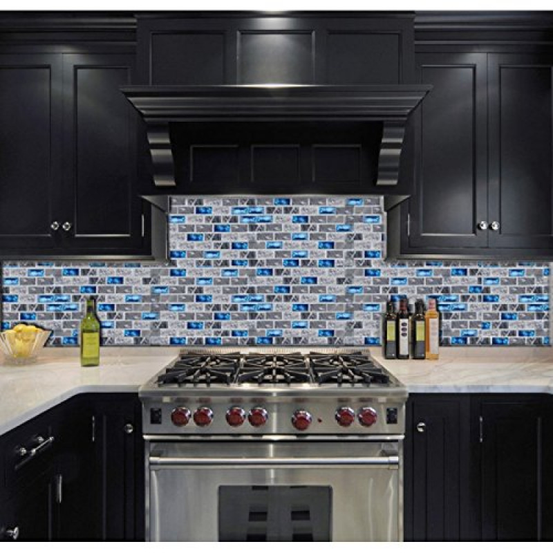 Navy Blue Glass Mosaic Grey Marble 1 X 2 Subway Wall Tiles