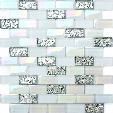 "Iridescent Subway Tile 1"" x 2"" Mosaic Bathroom Wall Backsplash White Glass Brick Silver Wave Pattern"