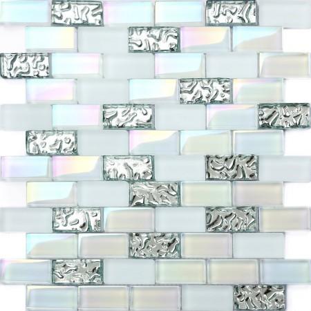 "Iridescent Subway Tile 1"" x 2"" Mosaic Bathroom Wall Backsplash White Glass Brick Silver Wave Pattern"