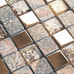 Clear Glass and Stone Mosaic Bathroom Tiles Square Rose Gold Stainless Steel Tile Backsplash