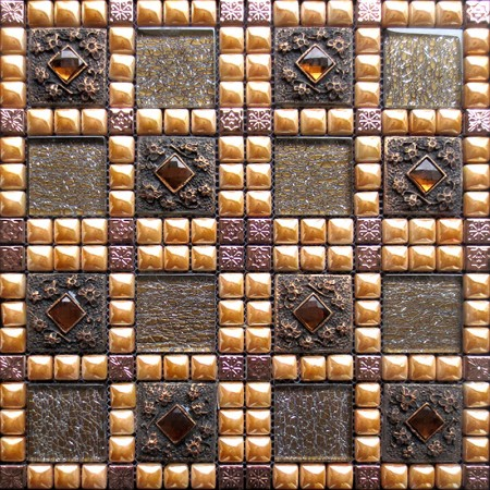 Glazed Porcelain Square Mosaic Tile Design Glass Diamond Ceramic Tile flooring Kitchen Backsplash WY-888