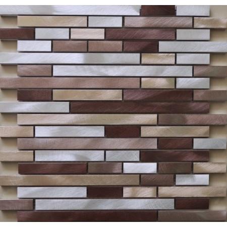 Brushed Aluminum mosaic tiles interlocking tiles wall Backsplash tile kitchen bathroom XGMT010