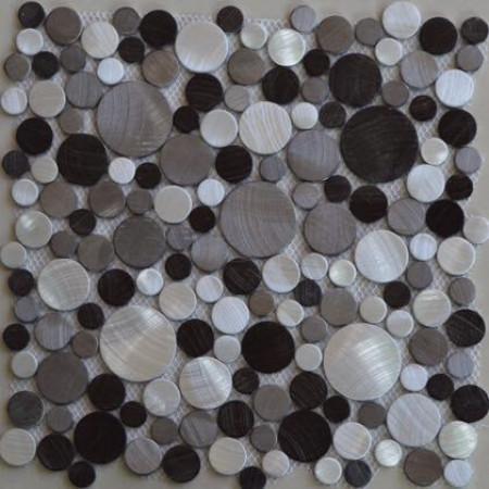 "12""x12"" Brushed Aluminum Mosaic Tile 3D Spheres Mixed Brown & Silver Round Metal Backsplash Tiles"