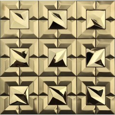 Gold 304 Stainless Steel tile Backsplash Cheap Mosaic Tile Metal Wall Tile XGSS02