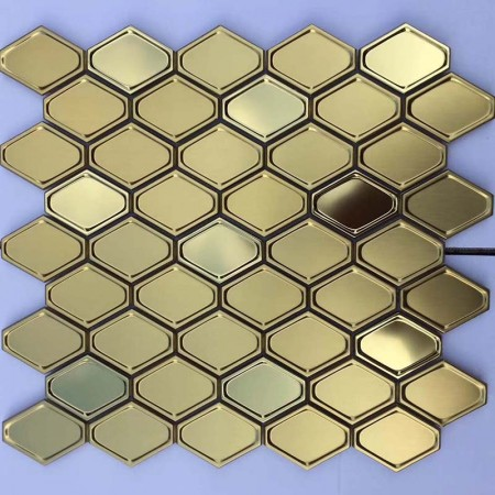 Metal Wall Tile Gold 304 Stainless Steel tile Backsplash decor Mosaic Tile XGSS05