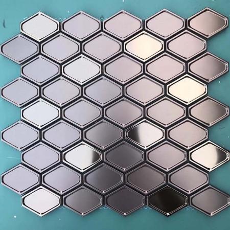 Rose Gold 304 Stainless Steel tile Backsplash decor Mosaic Tile Metal Wall Tile XGSS06