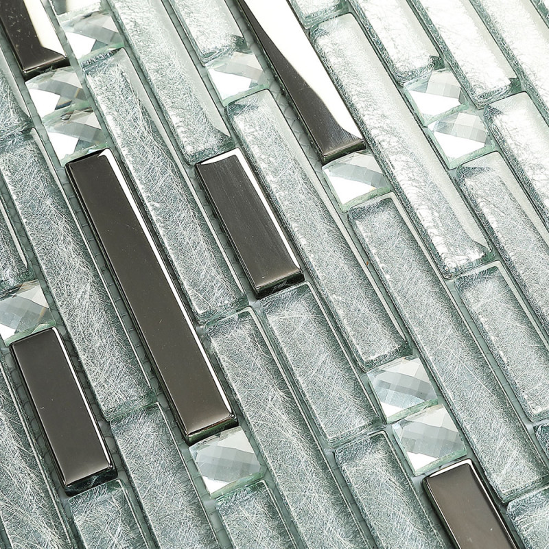 Silver Metallic Glass Backsplash Tile Mixed Rhinestone