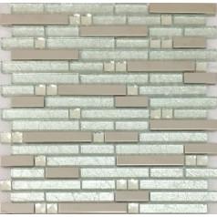Silver Stainless Steel Tile Crystal Glass Backsplash Interlocking Pattern Kitchen and Bathroom Tiles