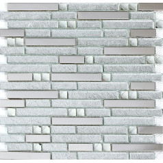 Silver Stainless Steel Tile Crystal Glass Backsplash Interlocking Pattern Kitchen and Bathroom Tiles