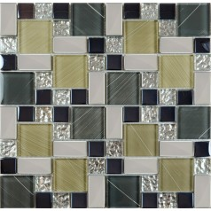 Crystal Glass Tile Sheets Hand Painted Kitchen Backsplash Tile Wall Sticker Plated Glass Mosaic Tiles ZZ020