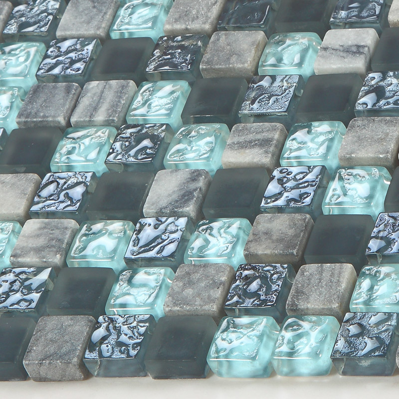 stone and glass mosaic sheets blue square tiles natural marble tile backsplash wall kitchen tile. Black Bedroom Furniture Sets. Home Design Ideas