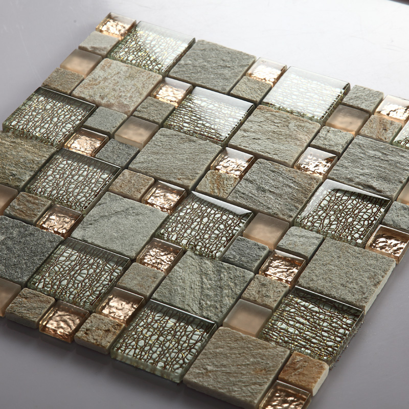 Grey Glass Mosaic Tile Natural Stone Tiles Marble Tile
