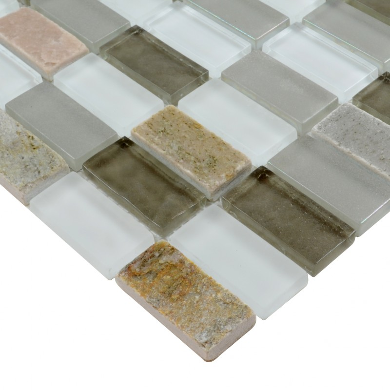 Stone Glass Mosaic Tile Sheets Straight Joint With Marble