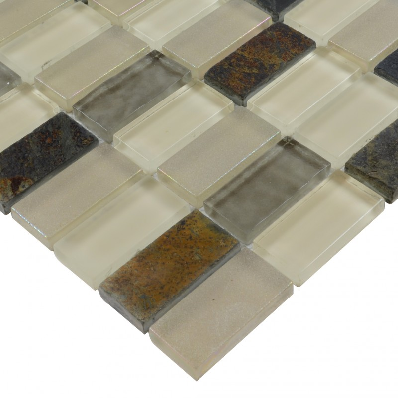 Stone Glass Mosaic TileSsmoky Mountain Straight Joint With Marble ...