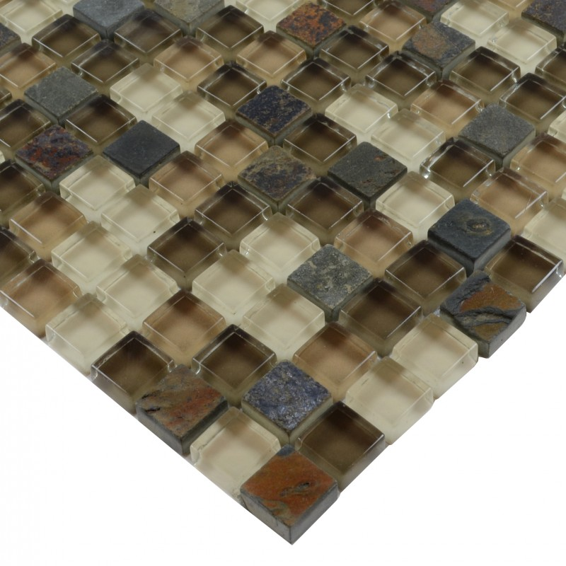 Stone Glass Mosaic Tilessmoky Mountain Square Tiles With
