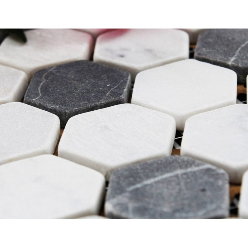 Hexagon Stone Mosaic Tiles Pattern Washroom Wall Black And