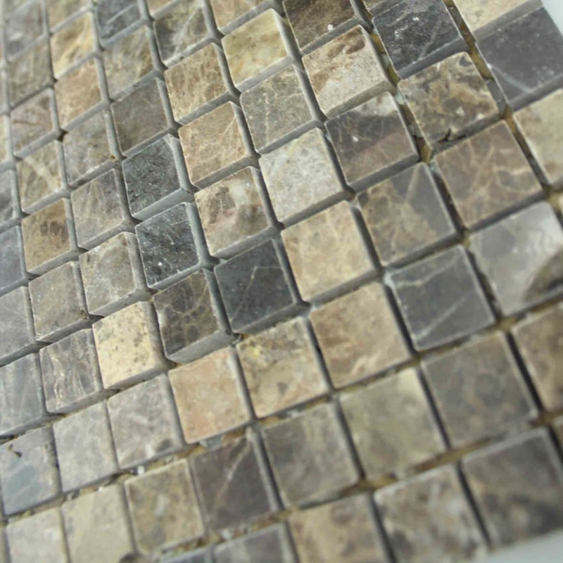 Stone Mosaic Tile Square Brown Pattern Washroom Wall
