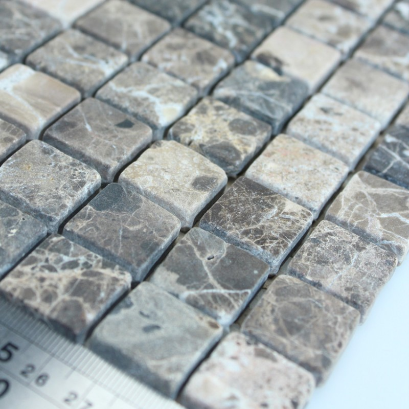 Stone Mosaic Tile Square Grey Patterns Bathroom Wall