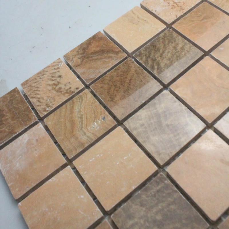 Stone Mosaic Tile Square Brown Patterns Bathroom Wall Marble ...