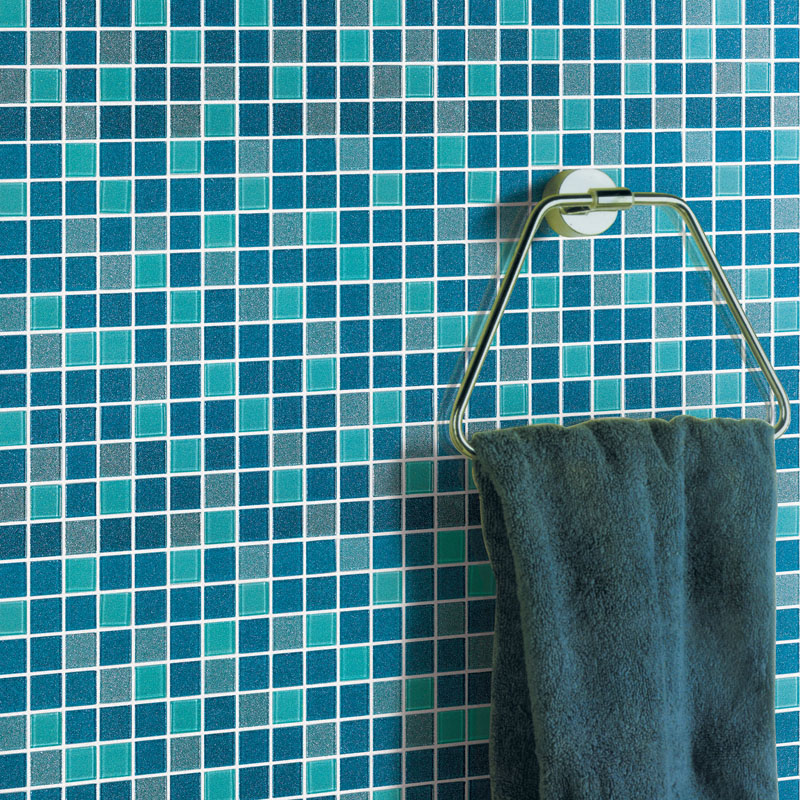 Glass Tiles In Bathroom: Blue Glass Tile Bathroom Floor Clear Crystal Mosaic