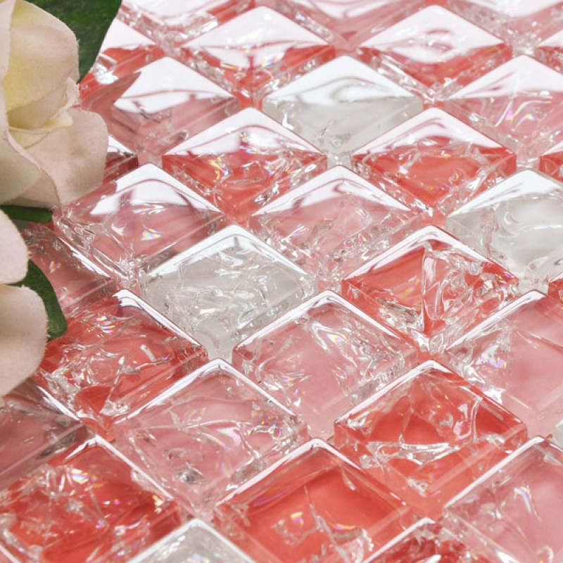 Wholesale Vitreous Mosaic Tile Crystal Glass Backsplash Washroom Design Ice Crack Bathroom Wall