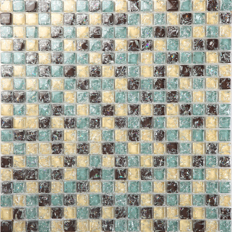 Yellow Brown Crackle Glass Mosaic Tiffany Blue Crystal