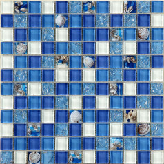 Glass Conch Tiles Beach Style Sea Blue White Crystal Mosaic Mother of Pearl Resin Tile