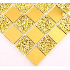 Mosaic Tile Crystal Glass Backsplash Dining Room Design Bathroom Wall Floor Gold Mirror Tiles