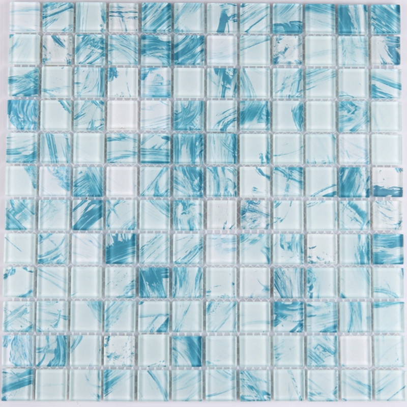 Mosaic Tile Crystal Gl Backsplash Dinner Design Bathroom Wall Floor Tiles White With Blue Painted