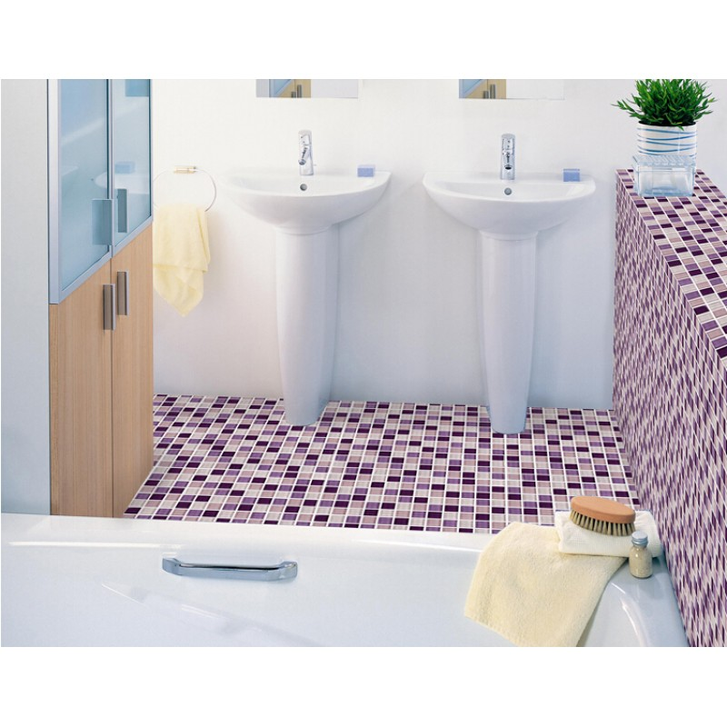 Purple Mosaic Tiles Crystal Glass Tile Bathroom Floor Tiles Wall - Purple-mosaic-bathroom-tiles