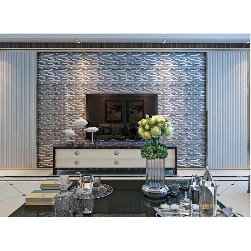 grey glass interlocking mosaic tile silver 304 stainless ...
