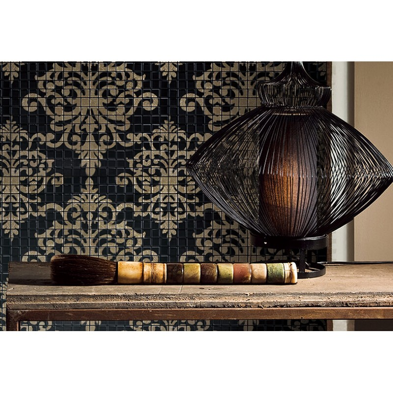 Gold and black tile mural puzzle mosaic glass wall murals for Black wall mural