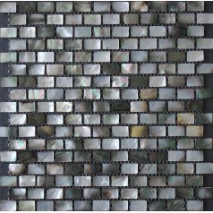 "Black Lip Seashell Wall Mother of Pearl Subway Tile Backsplash 3/5"" x 1"" Shell Mosaic Tiles"