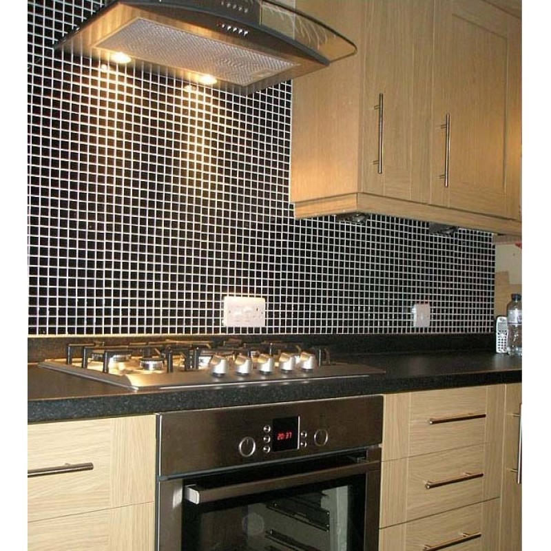 Exceptional ... Porcelain Tile Mosaic Black Square Surface Art Tiles Kitchen Backsplash  Bathroom Shower Wall Sticker ...