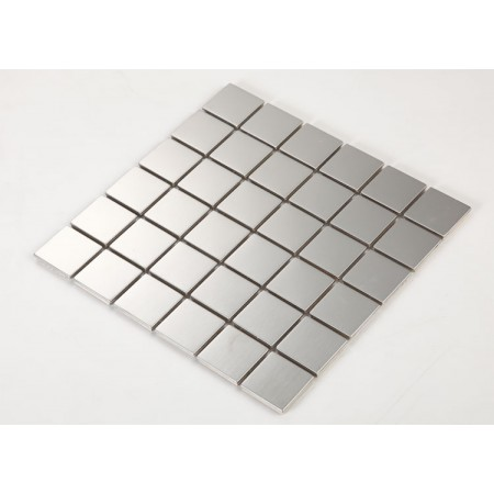 Stainless Steel Tile with Base Kitchen Backsplash Square Metal Wall Tile Silver Mosaic Cheap Subway Tiles HC2