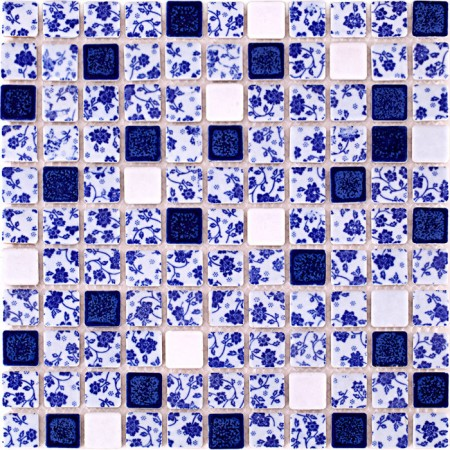 Blue and White Tile Glossy Porcelain Mosaic Bathroom 3D Flower Patterns Kitchen Backsplash WBPT33