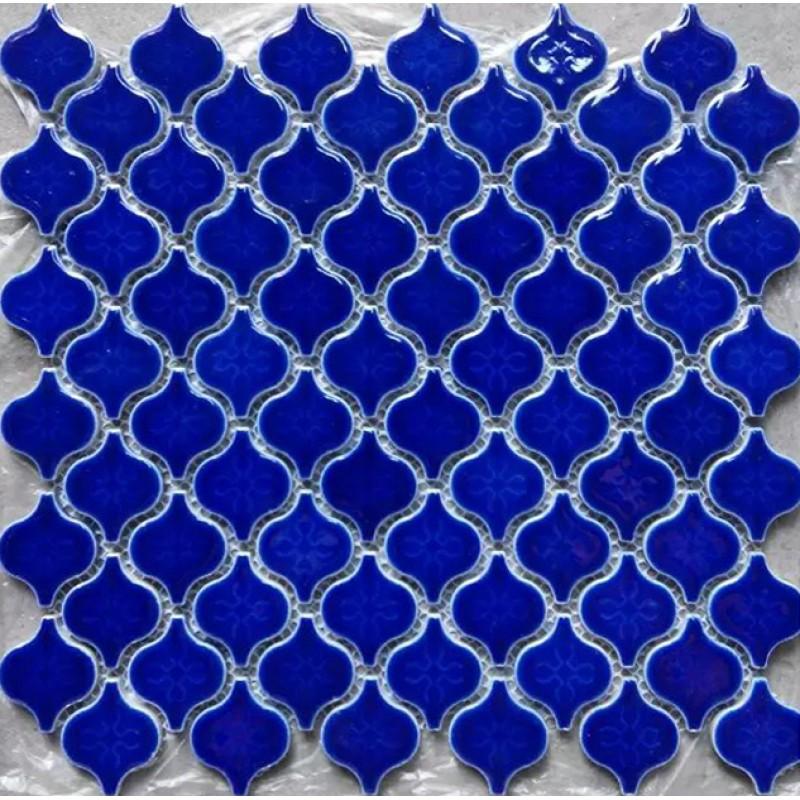 Blue Porcelain Backsplash Tile Sheets Lantern Ceramic