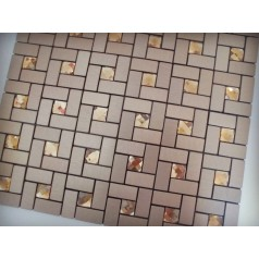 Adhesive Mosaic Tile Bronze Brushed Aluminum Metal Glass Diamond Grid Patterns Peel and Stick Tiles 1530-123