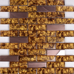 "Rose Gold Stainless Steel Tile Mosaic Crystal Glass Backsplash 1"" x 2"" Subway Pattern Wall Tiles"