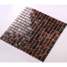 Glass Mosaic Tiles Hand Painted Vitreous Backsplash Tile Brown Bathroom Wall Tile JX007