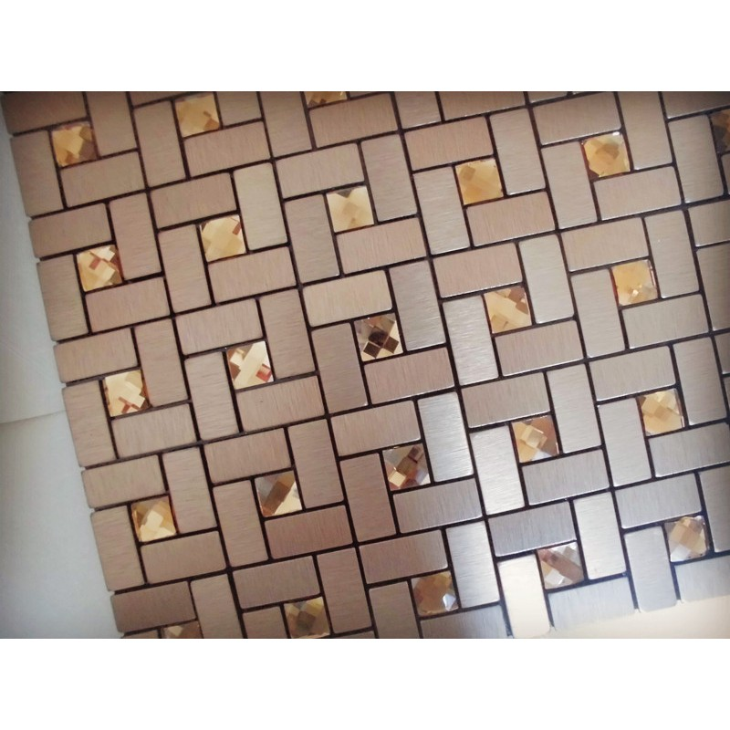 Mosaic Tile Bronze Brushed Aluminum Metal Gl Diamond Grid