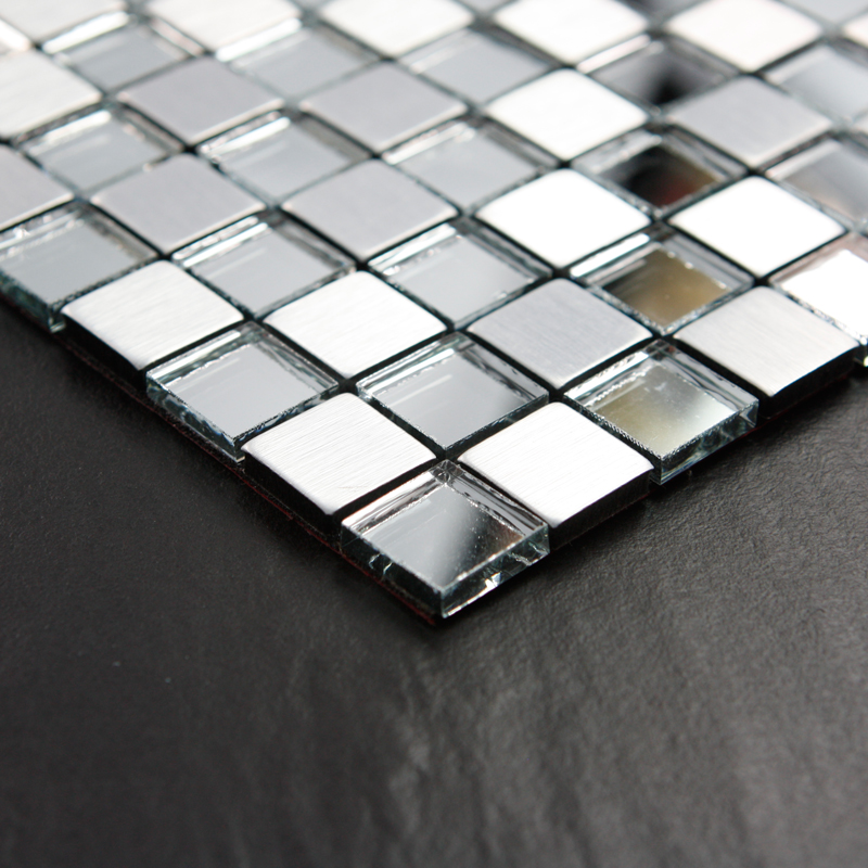 Adhsive mosaic tiles silver square peel and stick tile for Mirror tiles